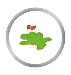 Golf course icon in cartoon style isolated on vector