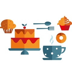 Breakfast with muffins and coffee vector