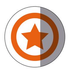 Sticker orange silhouette star favorite icon vector
