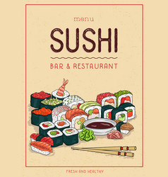 Sushi menu cover design vertical template with vector