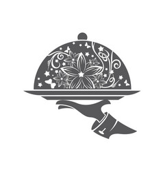 restaurant icon with tray vector image