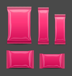 Pink blank foil food snack pack for chips spices vector