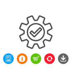 Cogwheel line icon approved service sign vector