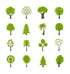 Collection of natural green trees icons set vector