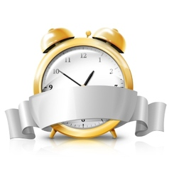 Golden alarm clock with silver white banner -sale vector