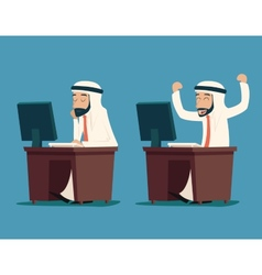 Arab businessman at desk working on computer vector