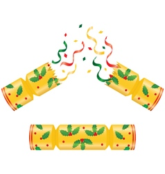 Gold christmas crackers broken and whole vector
