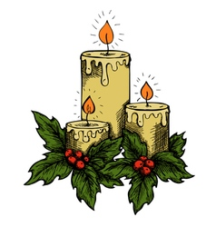 Candles and holly berries and leaves vector