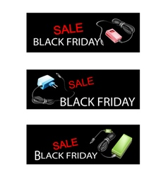 Adaptor power supply on black friday sale banners vector