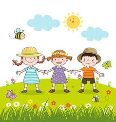 Happy children holding hands on blossom meadow vector