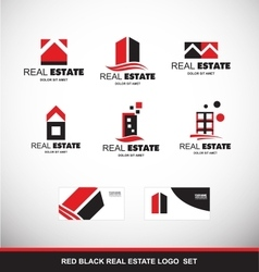 Red black real estate logo icon set vector