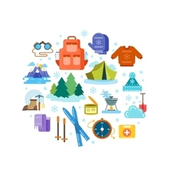 Circle composition of winter hiking flat icons vector image