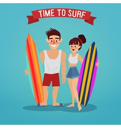 Man and woman with surf time to surf travel vector