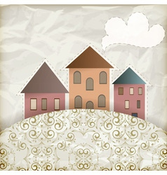 Vintage houses background vector image