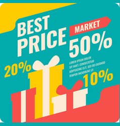 Banner best price in flat design retro vector