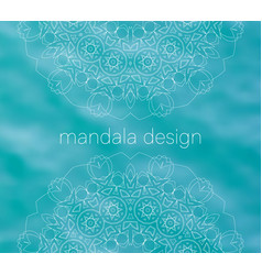 blue water tribal background with white mandalas vector image vector image