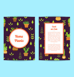 card template with lettering cacti in pots vector image vector image