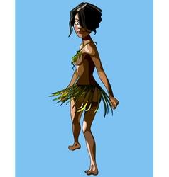Cartoon islander woman in a skirt and bra leaves vector
