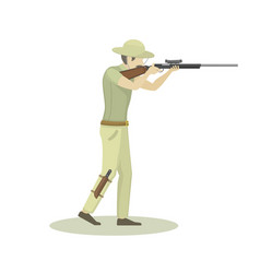 Cartoon of hunter aiming rifle vector