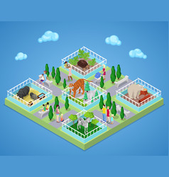 Children with parents in zoo park isometric vector
