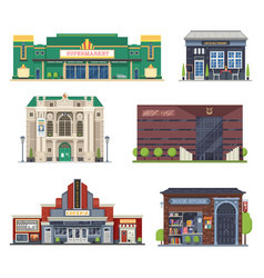 city public buildings set vector image