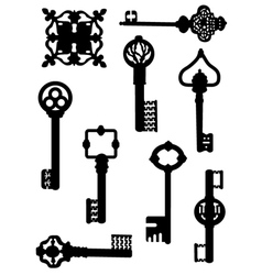 Collection of old keys vector