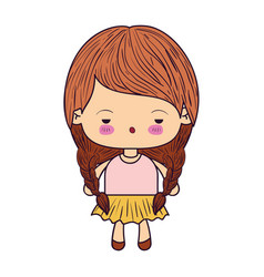 Colorful caricature little girl with braids hair vector