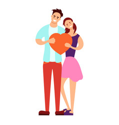 couple holding a heart vector image
