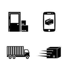 delivery simple related icons vector image vector image