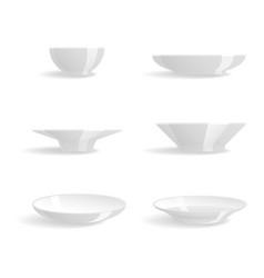 Empty white plates set isolated vector