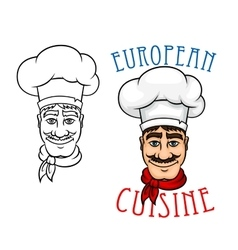 European chef in cook hat vector image vector image