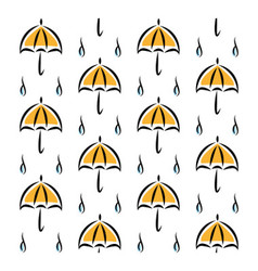 Fun pattern with yellow umbrellas and rain on vector