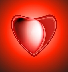 Icon hearts Metal volume red heart with highlights vector image