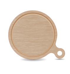 Isolated cutting board white oak wood pizza tray vector