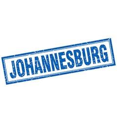 Johannesburg blue square grunge stamp on white vector