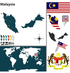 Malaysia map world small vector image vector image