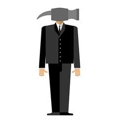 Man hammer businessman in suit instead head a vector