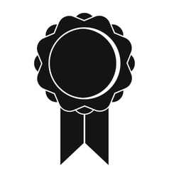 Rosette with ribbon icon simple style vector image