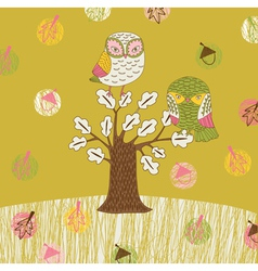 seasonal owl tree vector image