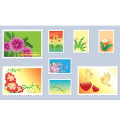 set of floral postage stamps vector image