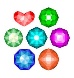 Set of multi-colored classic round brilliant cut vector