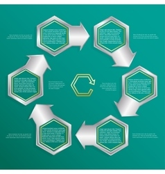 Six hexagonal frames for text or infographics vector image vector image
