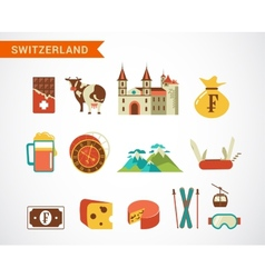 Switzerland - icons set vector