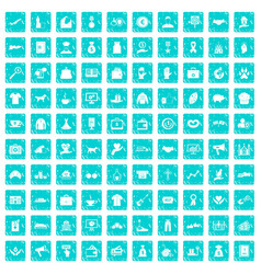 100 charity icons set grunge blue vector