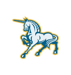Unicorn prancing side view vector