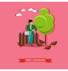 Farmer feeds the chickens flat design vector