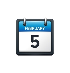 February 5 Calendar icon flat vector image