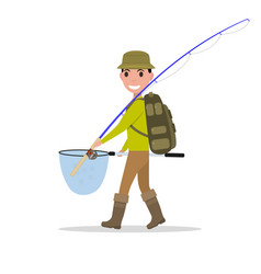 Cartoon man fisherman fishing vacation vector