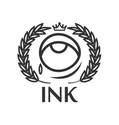 ink tattoo salon label with eye small tear king vector image