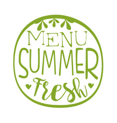 Fresh summer menu green label vector